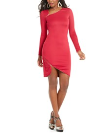Thalia Sodi Asymmetrical Zipper-Trim Dress, Created For Macy's