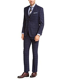 Men's Slim-Fit Stretch Bright Navy Blue Plaid Suit