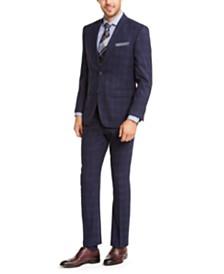 Perry Ellis Men's Slim-Fit Stretch Bright Navy Blue Plaid Suit