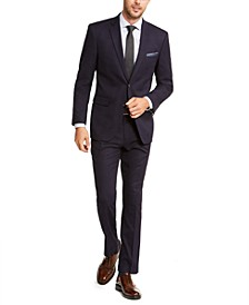 Men's Slim-Fit Stretch Dark Navy Blue Plaid Suit