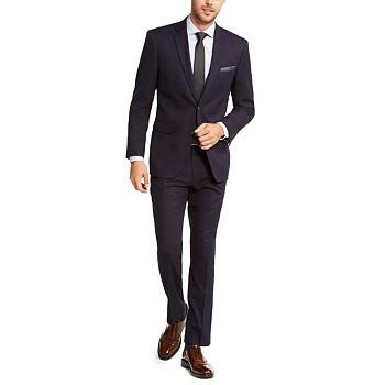 Perry Ellis Men's Slim-Fit Stretch Dark Navy Blue Plaid Suit
