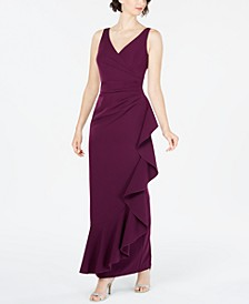 V-Neck Draped Ruffle Gown