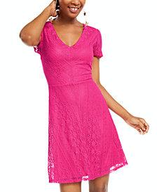 Be Bop Juniors' Lace Fit & Flare Dress
