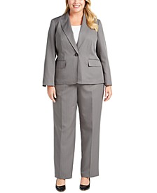 Plus Size One-Button Pinstriped Pantsuit