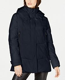 Hooded Double Zipper Puffer Coat