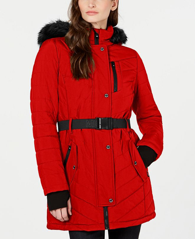 Michael Kors Active Belted Hooded Faux-Fur-Trim Puffer ...