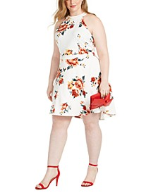Trendy Plus Size Floral-Print Skater Dress