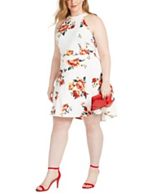 Almost Famous Trendy Plus Size Floral-Print Skater Dress