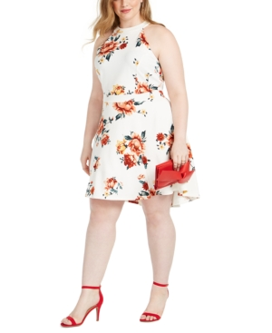 Trendy Plus Size Floral-print Skater Dress In Cream Floral