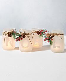 Holiday Noel Mason Jar Candle Holders, Set of 4