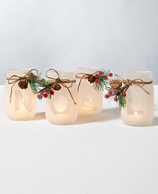 Home Essentials Holiday Noel Mason Jar Candle Holders, Set of 4