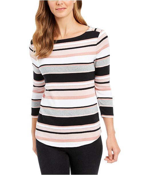 Charter Club Heathered Striped Turtleneck Top, Created for Macy's
