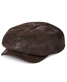 Men's Weathered Leather Newsboy Cap