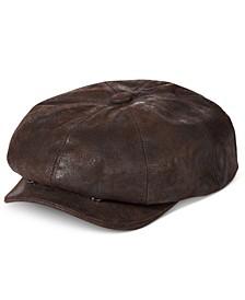 Men's Weathered Leather Newsboy Cap