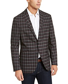 Men's Slim-Fit Stretch Burgundy/Gray Plaid Sport Coat