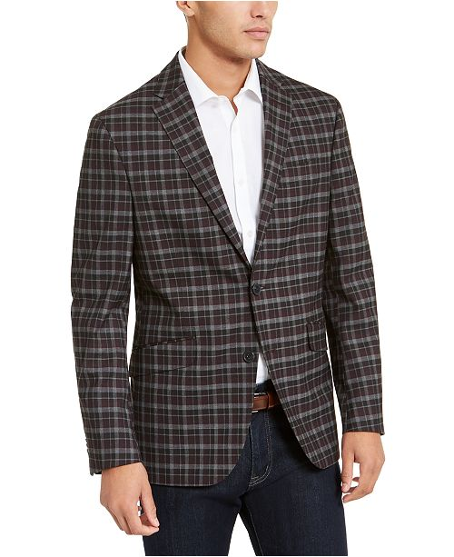 Kenneth Cole Reaction Men's Slim-Fit Stretch Burgundy/Gray Plaid Sport Coat