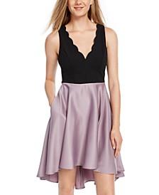 Juniors' Colorblocked Satin Fit & Flare Dress