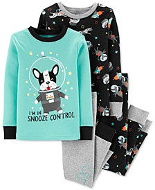 Toddler Boys 4-Pc. Cotton Space Frenchie Pajamas Set