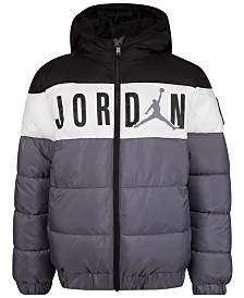 Jordan Big Boys Colorblocked Hooded Puffer Jacket