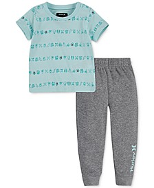 Baby Boys 2-Pc. Printed T-Shirt & Fleece Jogger Pants Set