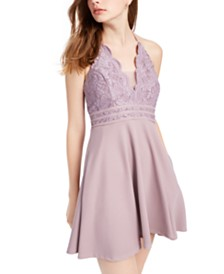 Speechless Juniors' Scalloped Lace Fit & Flare Dress