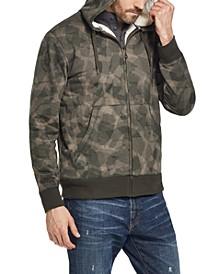 Men's Textured Camo Fleece Lined Hoodie