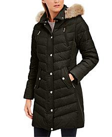 Michael Michael Kors Faux-Fur-Trim Hooded Chevron Down Puffer Coat, Created for Macy's