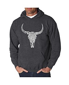 Men's Word Art Hooded Sweatshirt - Texas Skull