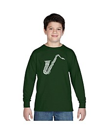 Boy's Word Art Long Sleeve T-Shirt - Sax