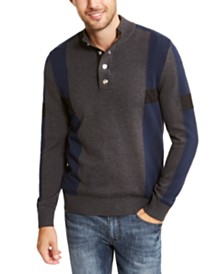 I.N.C. Men's Colorblocked Snap Henley Sweater, Created For Macy's