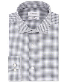 Calvin Klein Men's STEEL Slim-Fit Non-Iron Performance Stretch Print Dress Shirt