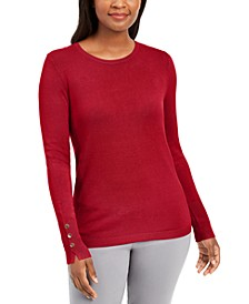 Petite Button-Cuff Crewneck Sweater, Created for Macy's