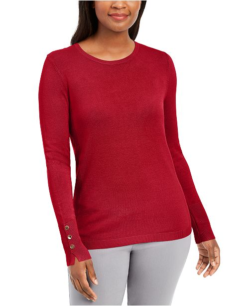 JM Collection Button-Cuff Crewneck Sweater, Created for Macy's