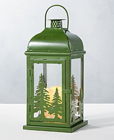 CLOSEOUT! Holiday Green Metal Lantern with LED Candle