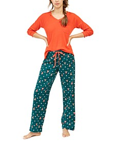 Ribbed Sleep Top & Flannel Sleep Bottoms, Created for Macy's
