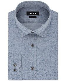 DKNY Men's Slim-Fit Stretch Kaihara Botanical Patterned Dress Shirt