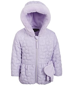 Baby Girls Quilted-Heart Hooded Jacket & Mittens
