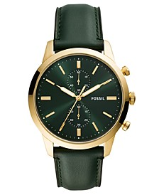 Men's Chronograph Townsman Green Leather Strap Watch 44mm