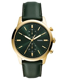 Fossil Men's Chronograph Townsman Green Leather Strap Watch 44mm