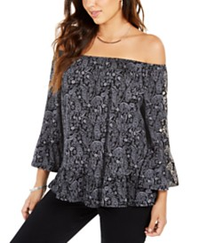 Style & Co Petite Paisley Ruffle Blouse, Created for Macy's