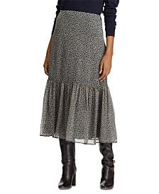Lauren Ralph Lauren Botanical-Print Georgette Tiered Skirt