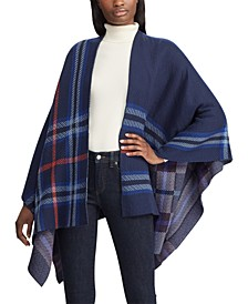 Plaid-Print Poncho Sweater