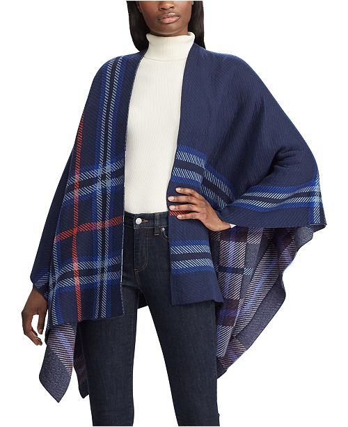 Lauren Ralph Lauren Plaid-Print Poncho Sweater