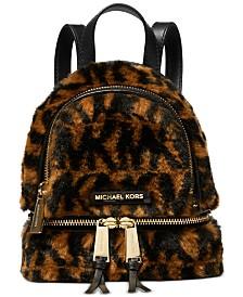Michael Michael Kors Rhea Leather & Faux Fur Messenger Backpack