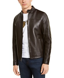 Michael Kors Men's Leather Racer Jacket, Created for Macy's