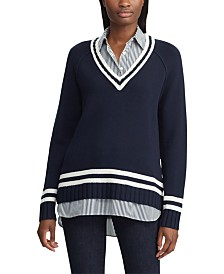 Lauren Ralph Lauren Stripe-Trim Layered-Look Sweater