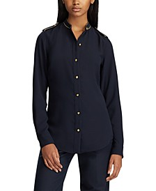 Triple-Georgette Button-Down Top