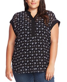 Vince Camuto Plus Size Contrast-Trim Printed Top