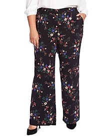 Plus Size Country Bouquet Wide-Leg Pants