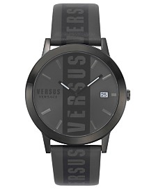 Versus by Versace Men's Black Logo Leather Strap Watch 44mm